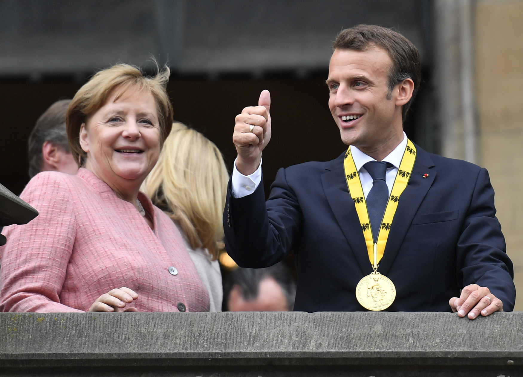 Německá kancléřka Angela Merkelová a francouzský prezident Emmanuel Macron v německých Cáchách