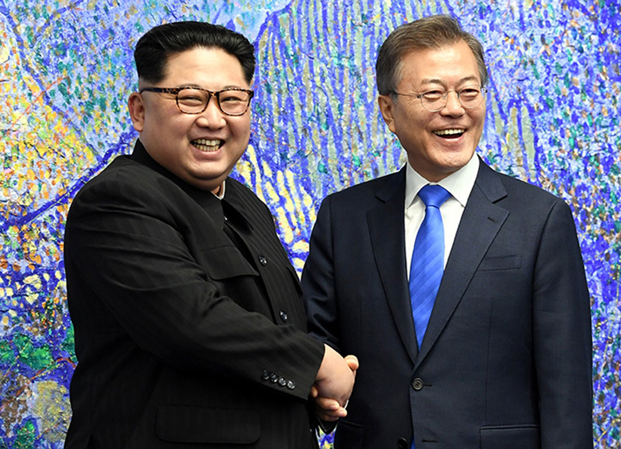 Severokorejský vůdce Kim Čong-un a jihokorejský prezident Mun Če-in