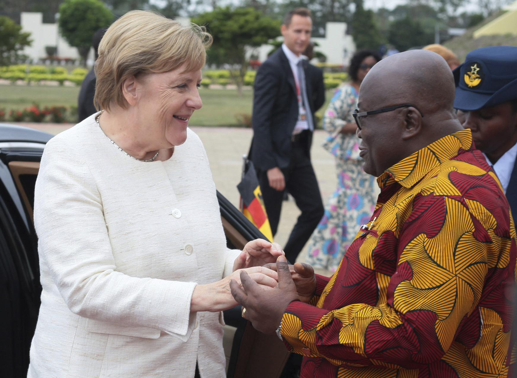 Německá kancléřka Angela Merkelová a prezident Ghany Nana Akufo-Addo