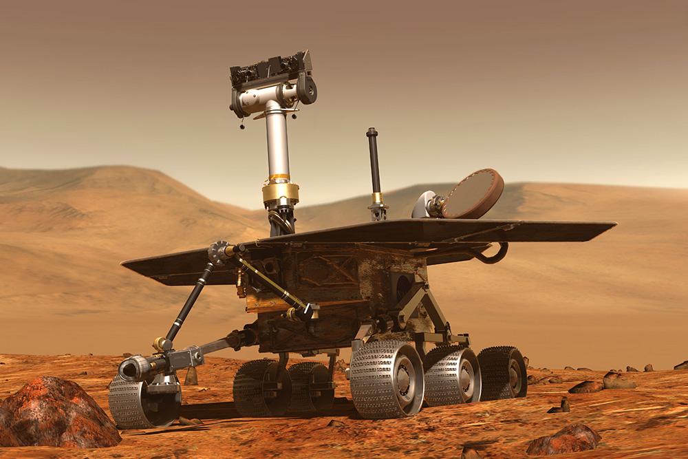 Vozítko Opportunity na Marsu.