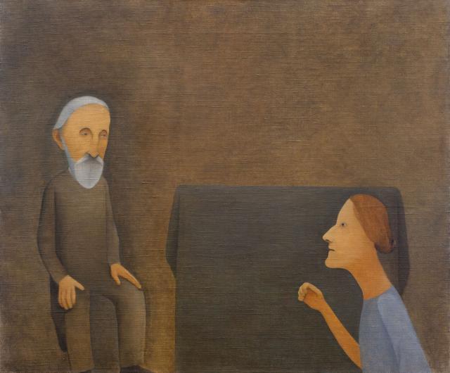 Vlasta Vostřebalová Fischerová: Stařec a dívka (před 1925), Galerie umění Karlovy Vary