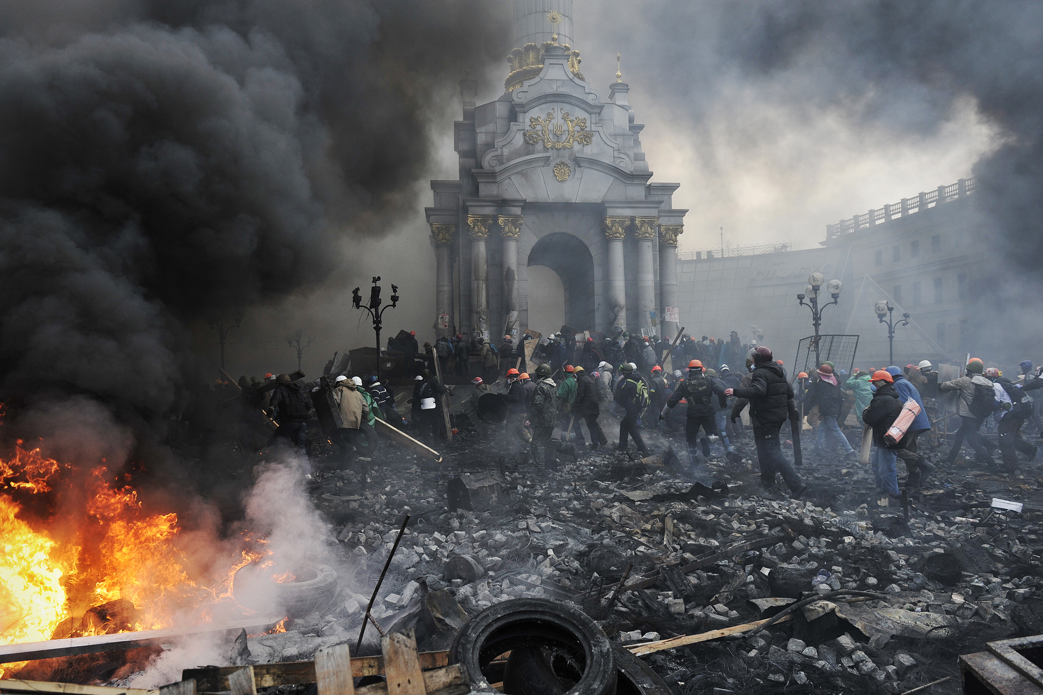 Euromajdan v ukrajinském Kyjevu před rokem