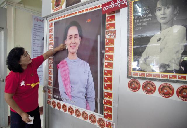 Portrét předsedkyně vítězné barmské Národní ligy pro demokracii Aun Schan Su Ťij