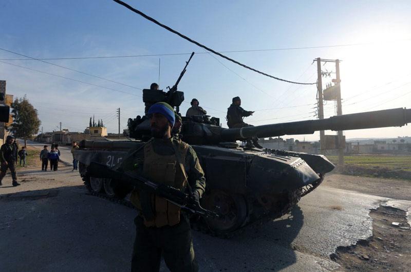Tank Syrské arabské armády v severním Aleppu
