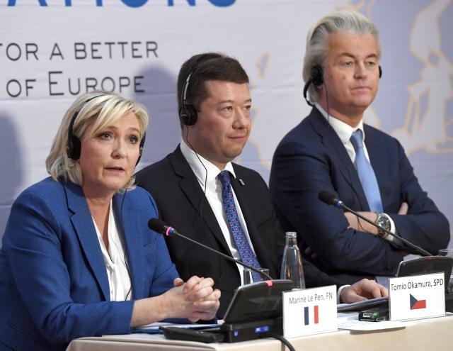 Konference Evropské strany národů a svobody, zleva Marine Le Penová, Tomio Okamura a Geert Wilders