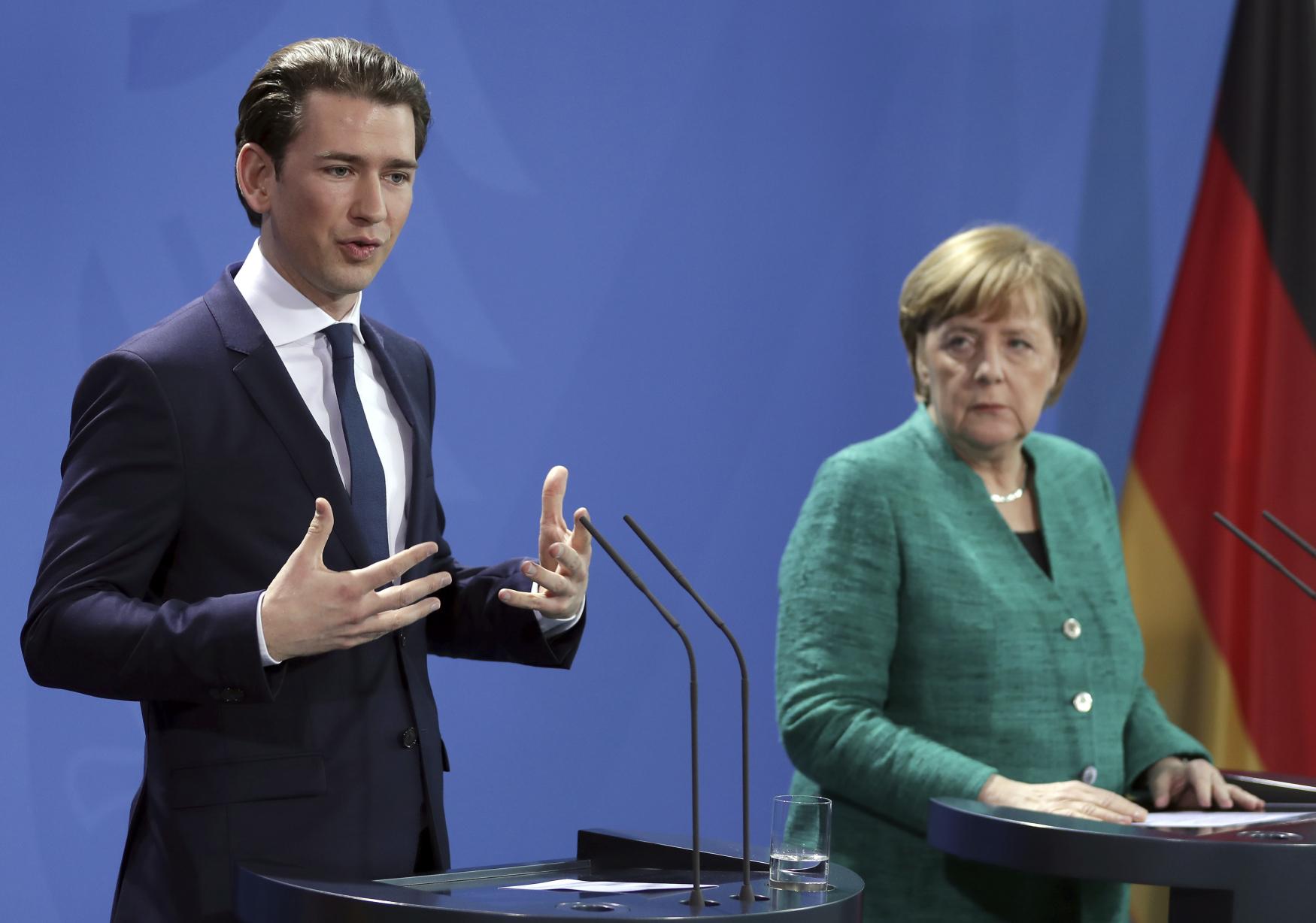 Sebastian Kurz na návštěve Berlína s kancléřkou Angelou Merkelovou