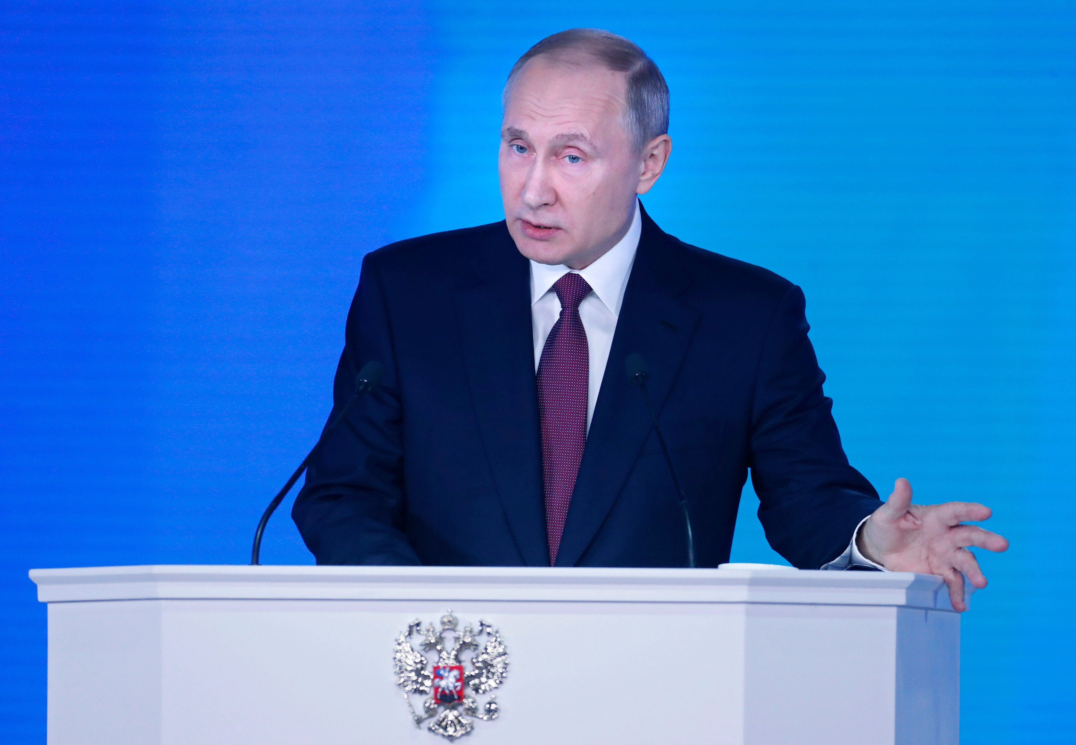 Vladimir Putin při poselství o stavu země