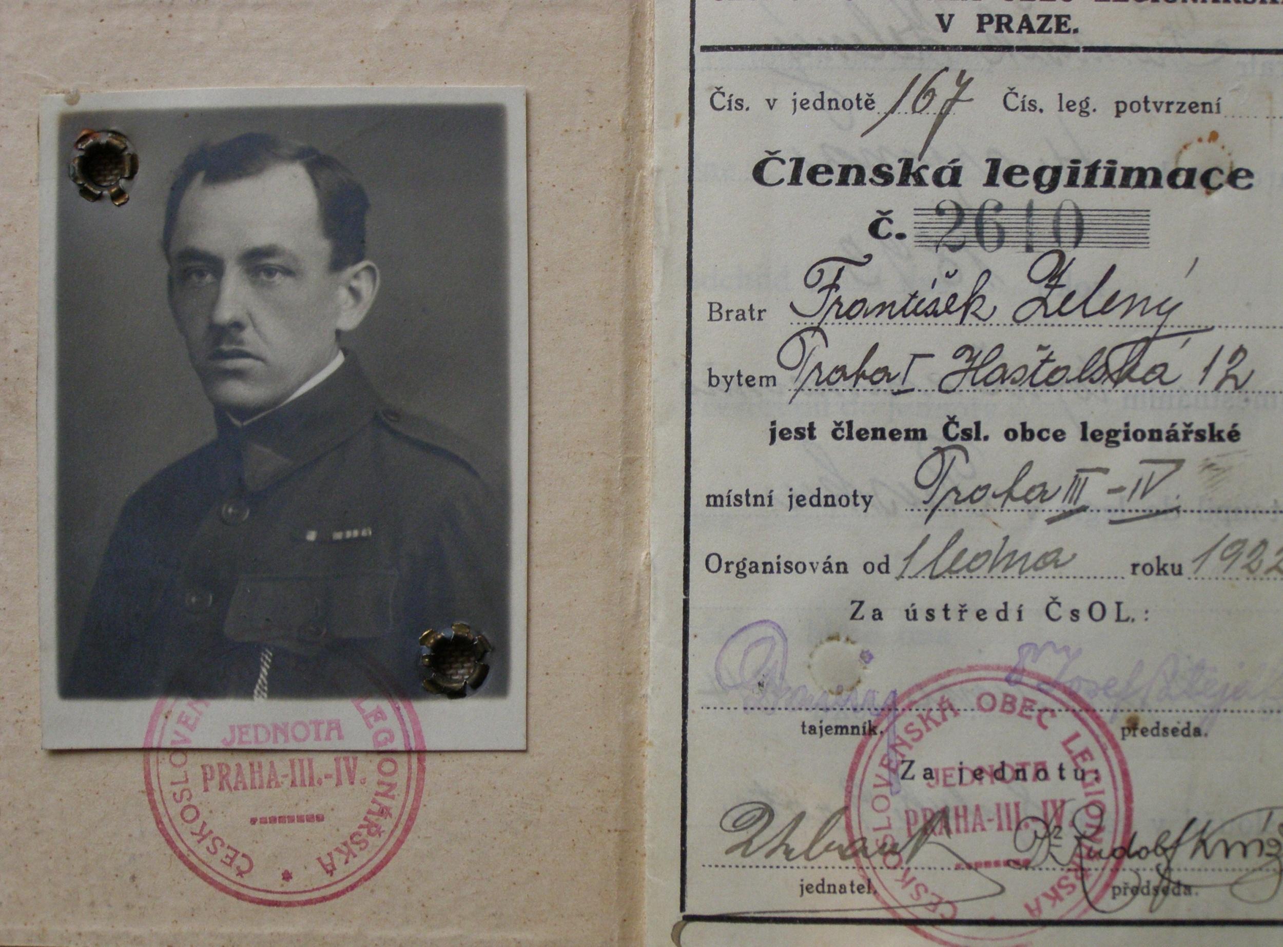 Vojenská knížka Františka Zeleného