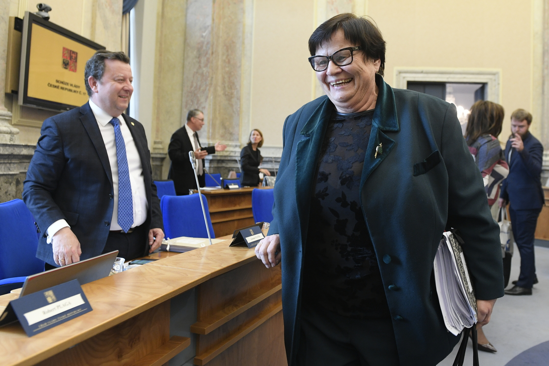Marie Benešová na zasedání vlády