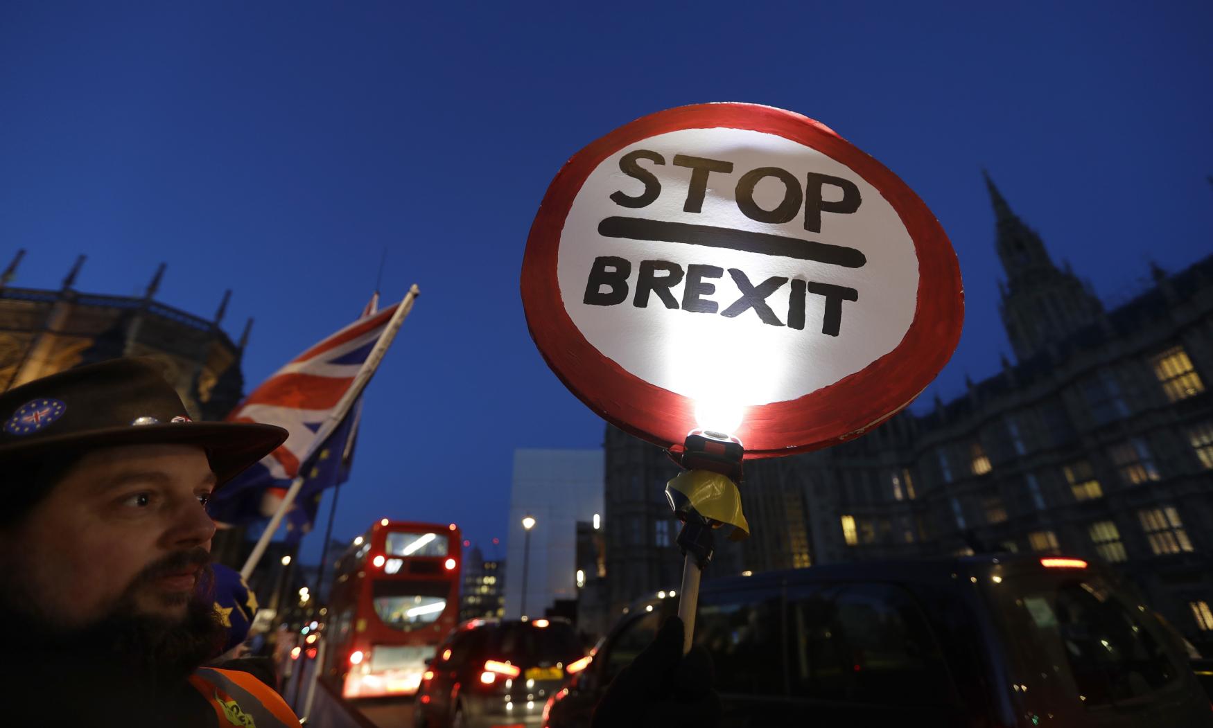 Muž protestující proti brexitu (ilustrační foto)