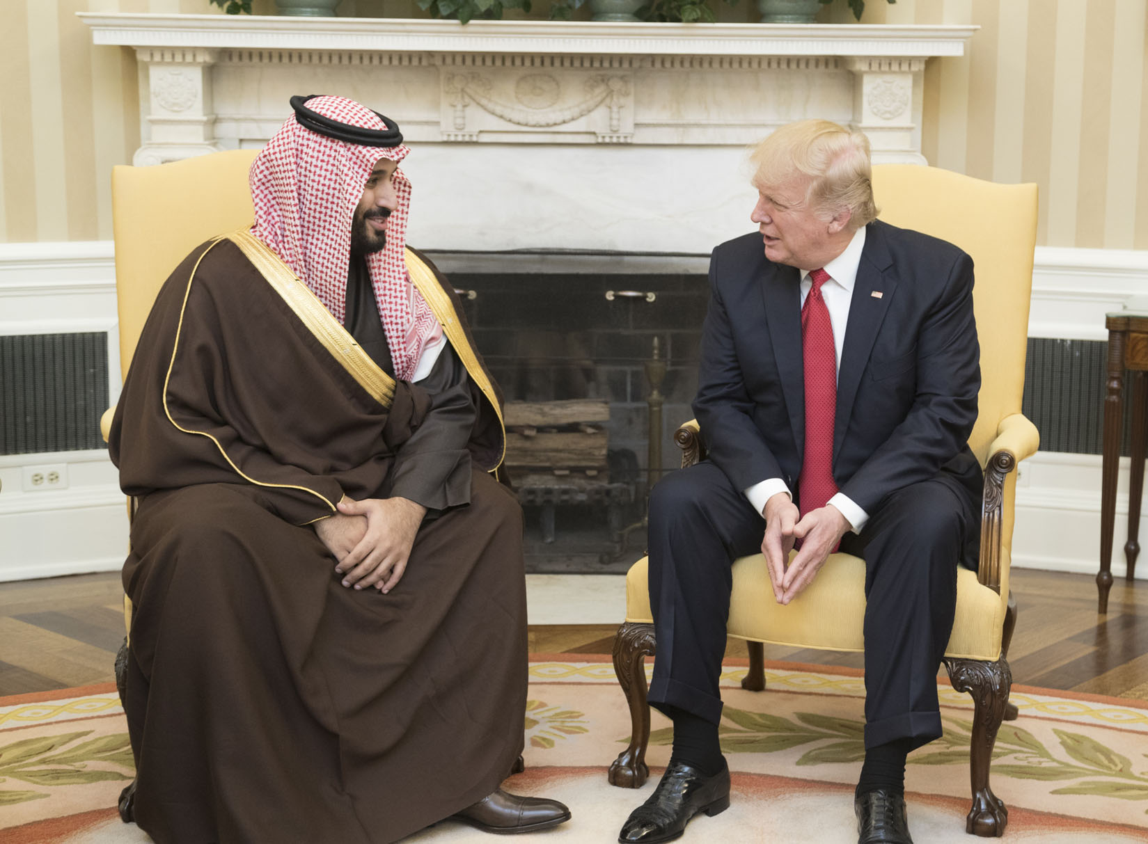 Saúdský korunní princ Mohamed bin Salmán a americký prezident Donald Trump