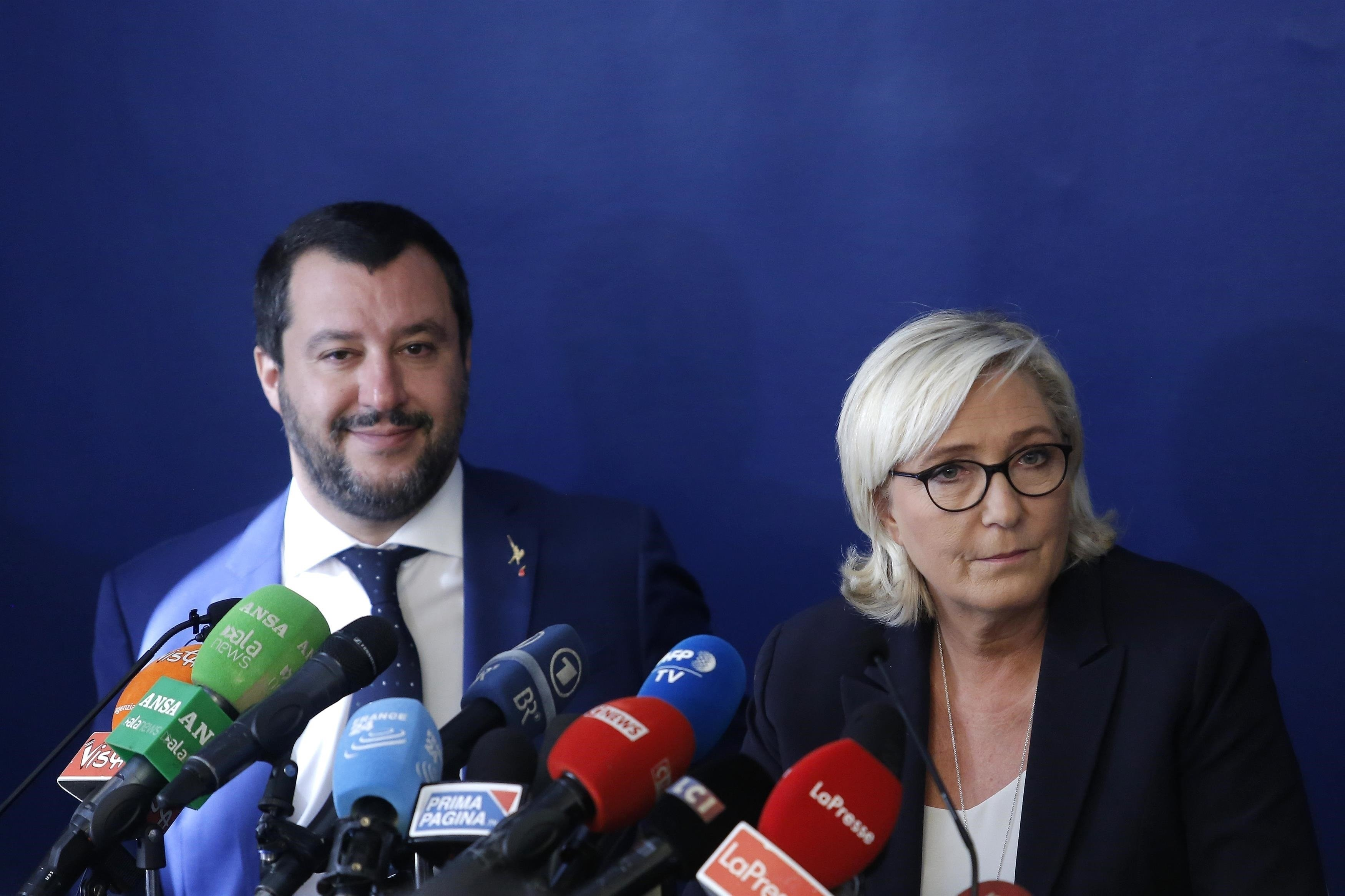 Matteo Salvini a Marine Le Penová během setkání v Římě