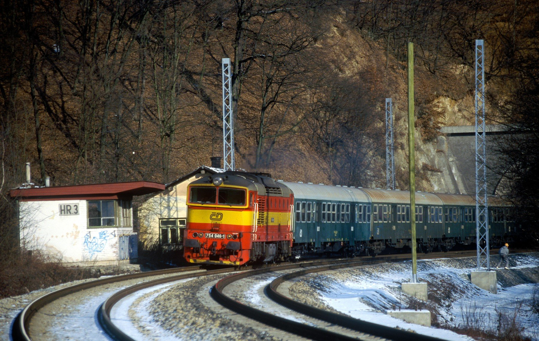 Vlak na trase mezi Babicemi a Bílovicemi nad Svitavou