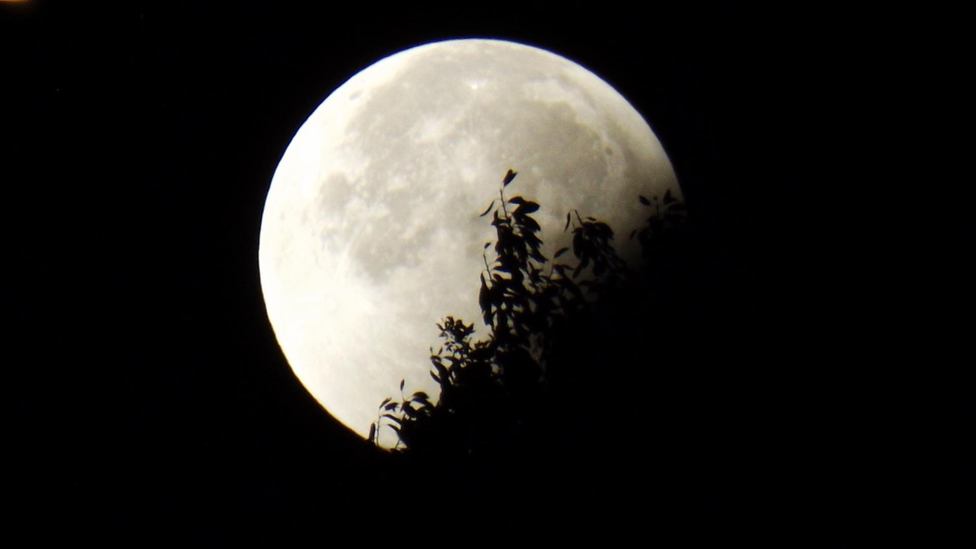 Zatmění Měsíce těsně nad obzorem Země