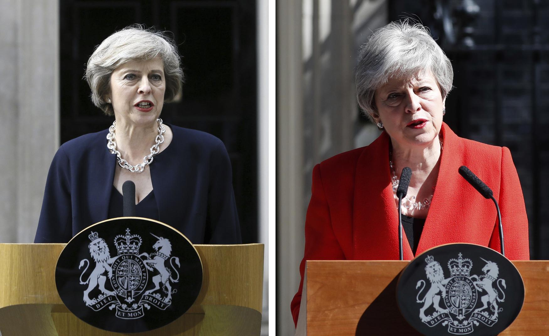 Theresa Mayová. Vlevo 13. července 2016, v den, kdy se stala britskou premiérkou. Vpravo 24. května 2019 v den, kdy oznámila, že ve funkci končí