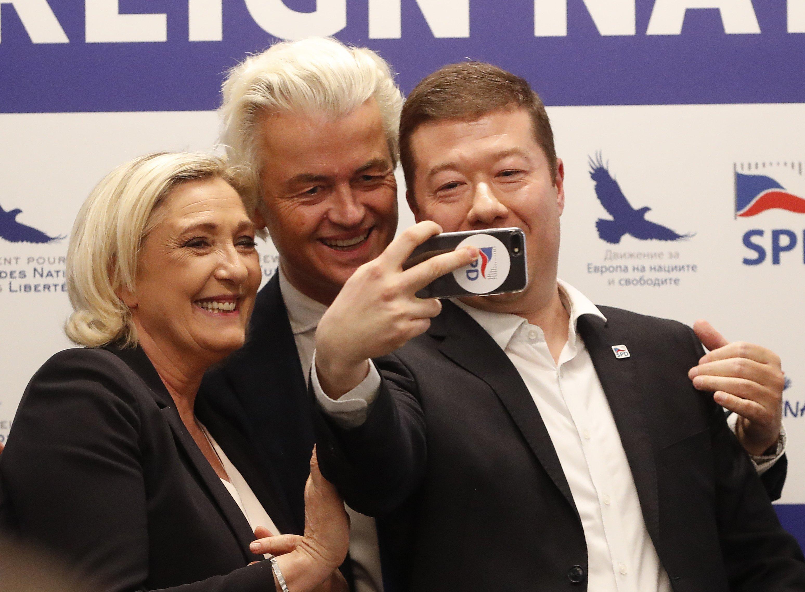 Zleva: Marie Le Penová, Geert Wilders, Tomio Okamura.