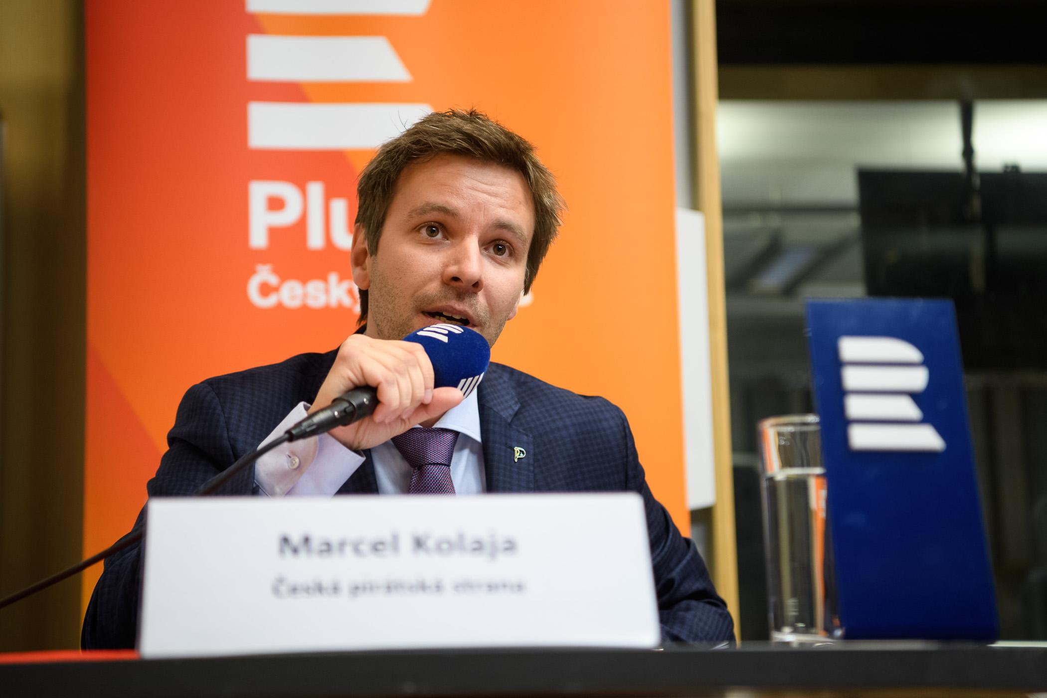 Marcel Kolaja, Česká pirátská strana, při debatě Českého rozhlasu před volbami do Evropského parlamentu v květnu 2019.