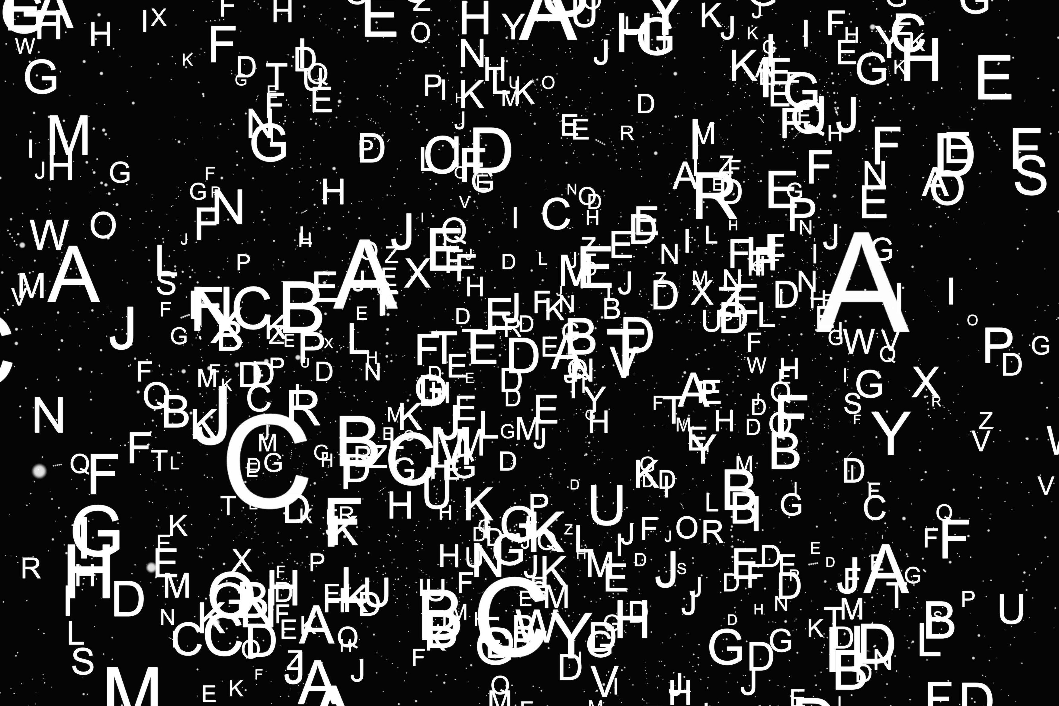 Abeceda, abstraktní, písmena (ilustrační foto)