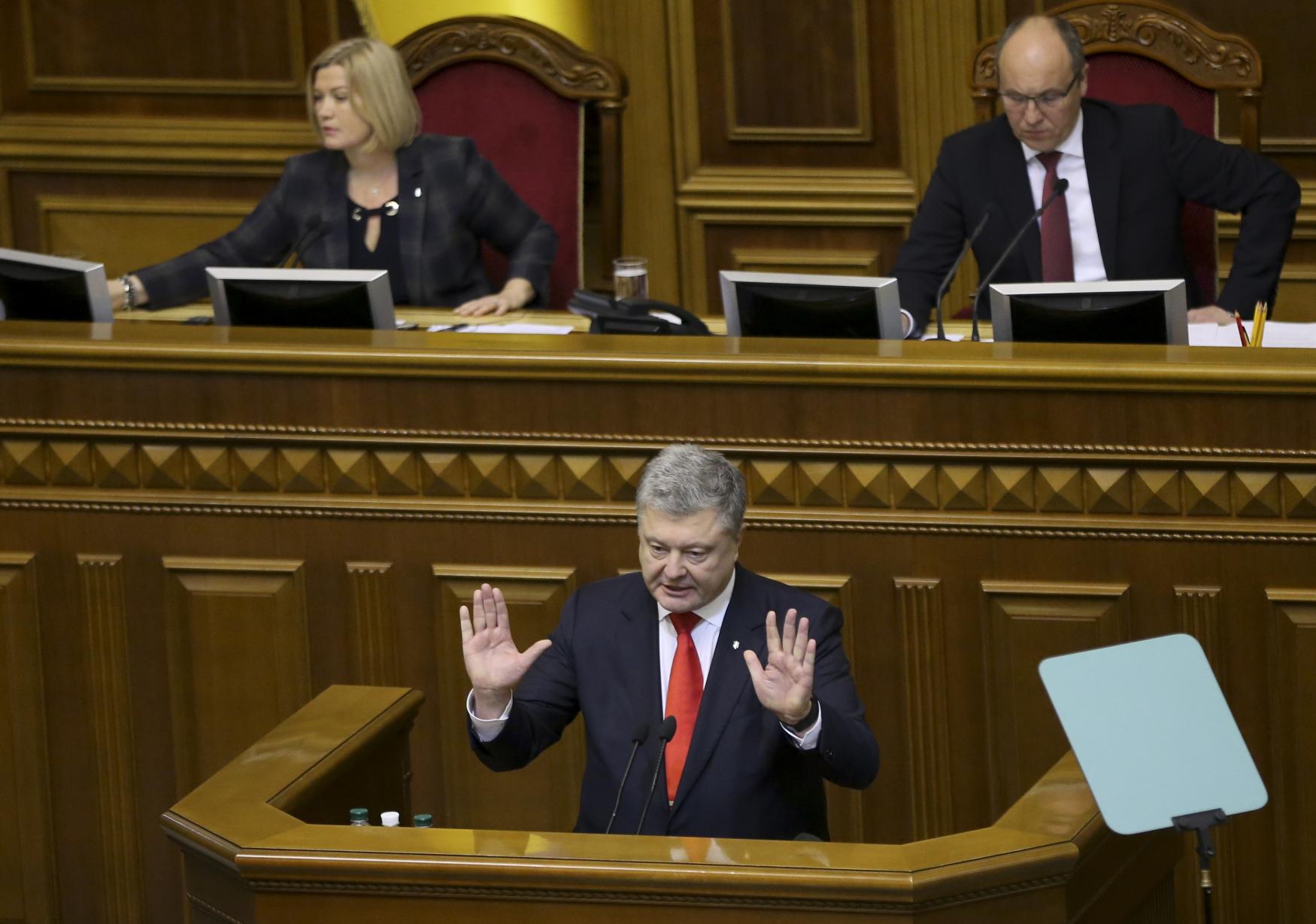 Ukrajinský prezident Petro Porošenko během schůze ukrajinského parlamentu 26. listopadu 2018