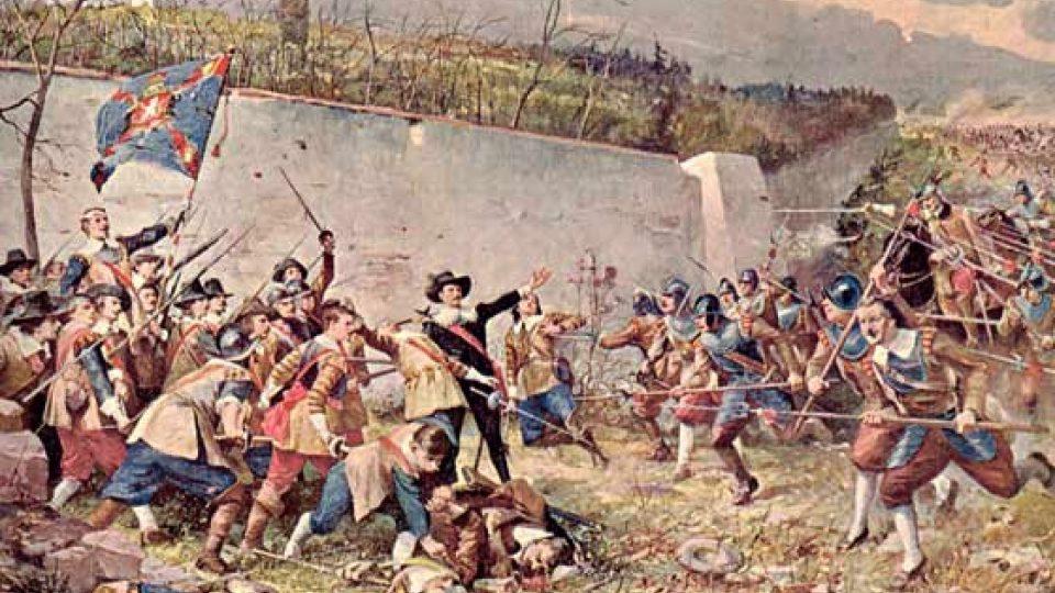 """Poslední střet bitvy se odehrál u zdi letohrádku - obraz Stanislava Hudečka z bitvy """"Moravanů"""" na Bílé hoře."""