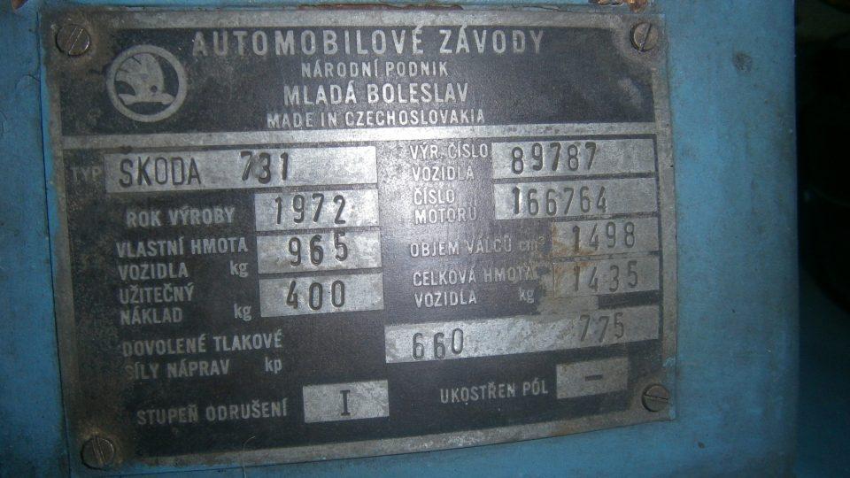 Slovenský prototyp Škody 720 nesl označení 731