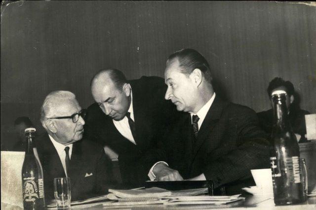 Ludvík Svoboda, Oldřich Černík a Alexandr Dubček v listopadu 1968
