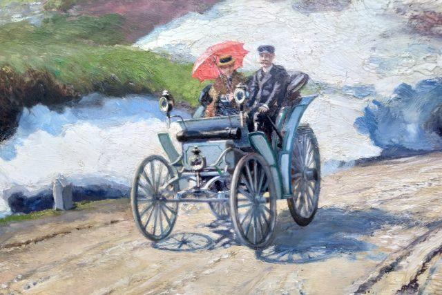 Theodor Liebieg a jeho snoubenka na voze Benz Victoria