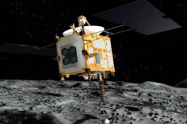 Sonda Hayabusa nad povrchem planetky Itokawa