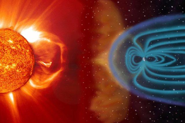 Koláž interakce slunečního větru s magnetosférou Země