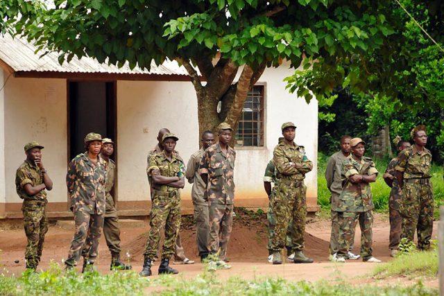 Ozbrojené složky Středoafrické republiky u úřadovny WWF v Bayanze