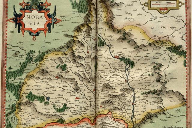 Mapa Moravy. List z Mercatorova atlasu z roku 1595.