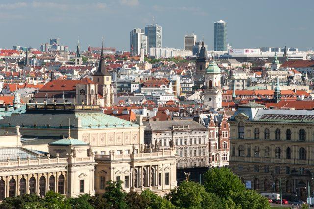 Pohled na Staroměstkou Prahu, Rudolfímům a Pankrác