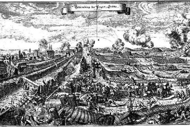 Obléhání Prahy na rytině z Theatrum Europaeum,  na podkladě malby Karla Škréty | foto: Wikipedia,  public domain - volné dílo