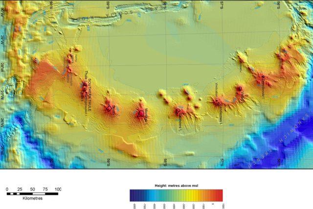 Mapa nových antarktických sopek
