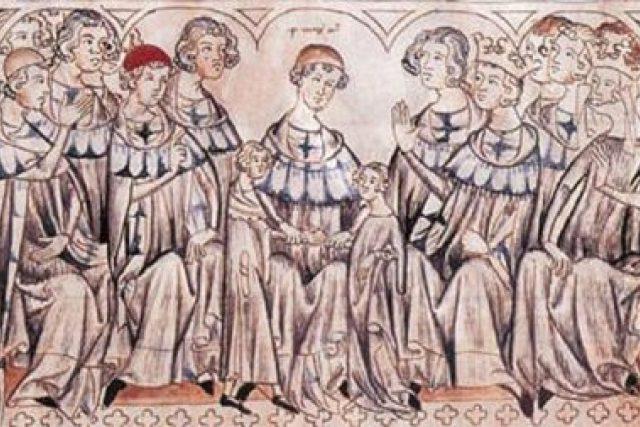 Svatba Elišky Přemyslovny a Jana Lucemburského ve Špýru (iluminace z Balduinea)