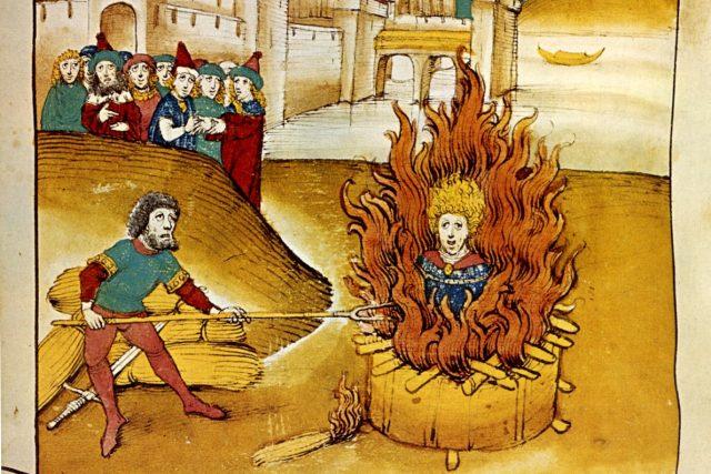 Upálení Jana Husa, Spiezerova kronika, 1485.