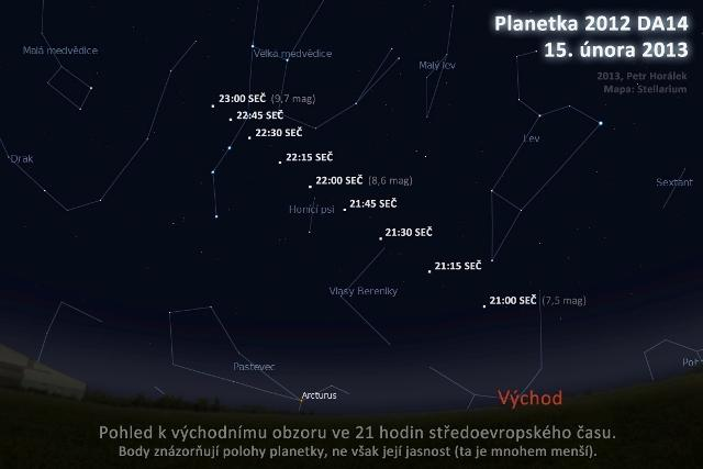 Mapa, kudy asteroid letěl