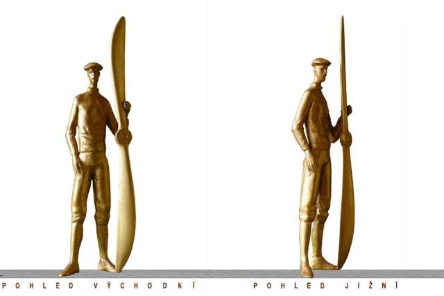 2 Bronzový památník - figura aviatika v nadživotní velikosti, v ruce drží vrtuli letadla Blériot (František Bálek a další)