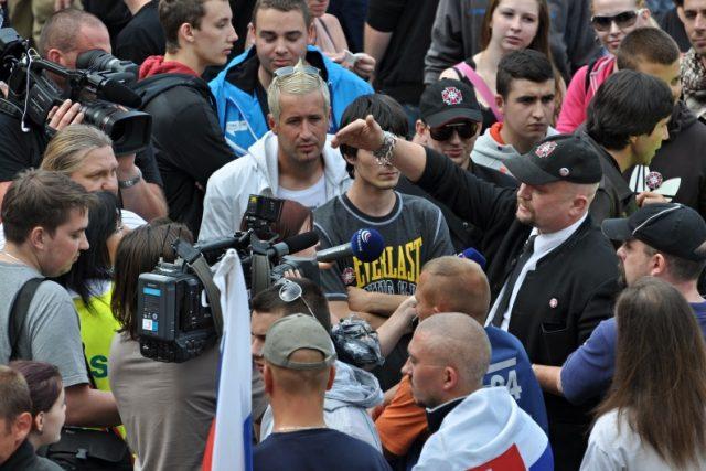 Na náměstí v centru Českých Budějovic protestovali extrémisté.