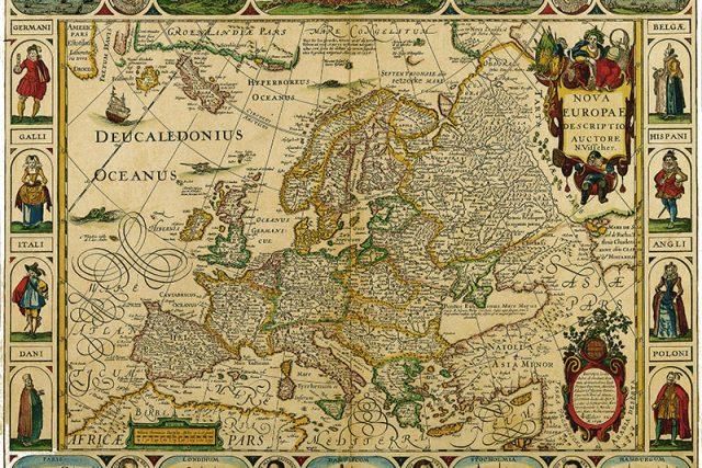 Historická mapa Evropy. Autor: N. Visscher   foto: Art plus,  www.historicke-mapy.cz