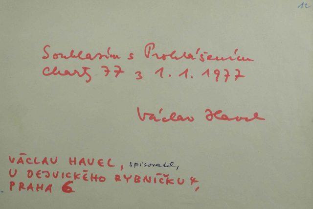 Charta 77 - podpis Václava Havla