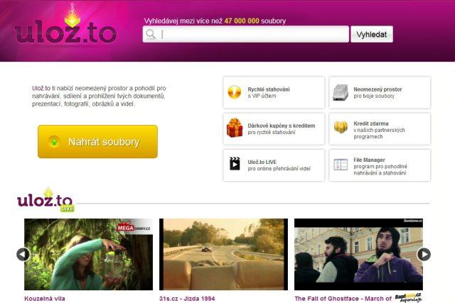 Screenshot homepage Uloz.to
