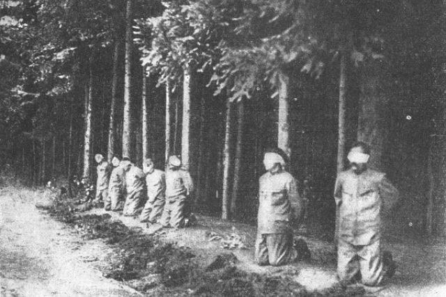 Poprava sedmi vůdců Rumburské vzpoury v lese za lesním hřbitovem v Novém Boru, 1918.jpg