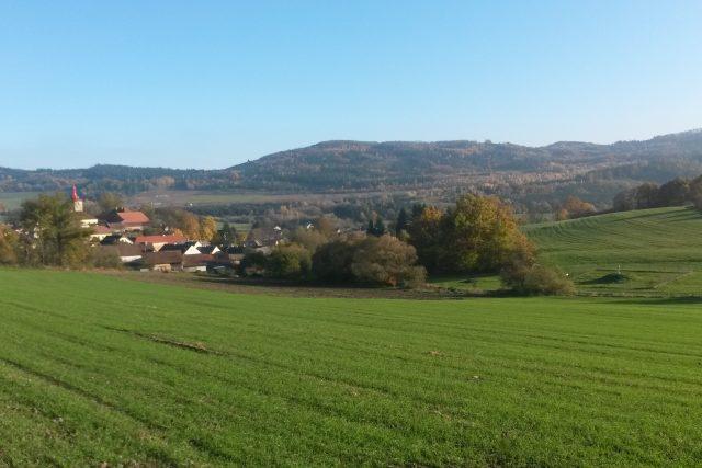 Poleň na Klatovsku,  církevní pozemek,  kde chce obec budovat vodní vrt | foto: Lukáš Milota,  Český rozhlas