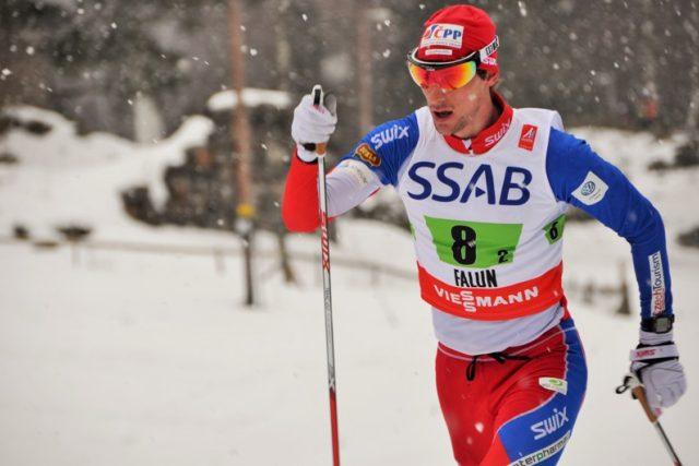 Martin Jakš při štafetě na mistrovství světa ve Falunu