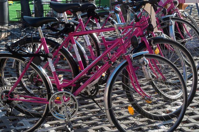 Lidé si můžou v Českých Budějovicích půjčovat růžová kola | foto: Karel Kerlický