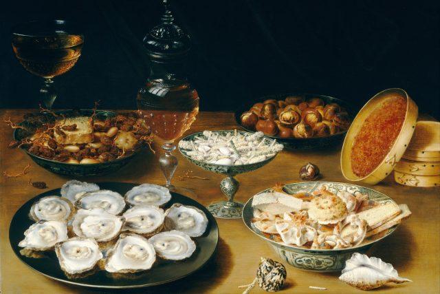 Osias Beert: Zátiší s ústřicemi, ovocem, sladkostmi a vínem z roku 1620