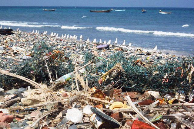 Odpadky z moře - plast na pláži