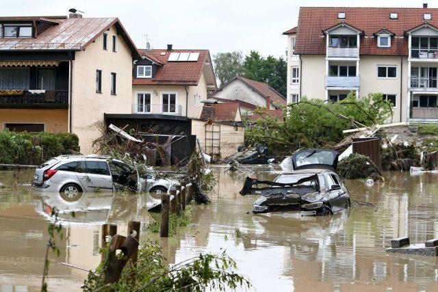 Následky povodně v bavorském městě Simbach am Inn