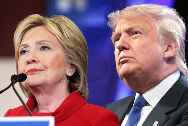 Hillary Clintonová a Donald Trump  (fotokoláž)   foto: Wikimedia Commons,  Michal Jindra